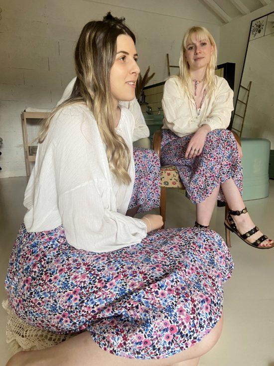 Jupe longue fleurie - Jupe éthique - Jupe fabriquée en France - La Mode de Mélissa - Marque éthique de vêtements