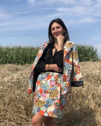 Jupe patineuse - jupe fleurie - jupe fleurie éthique - La Mode de Mélissa marque éthique et éco-responsable de mode- Fait en France