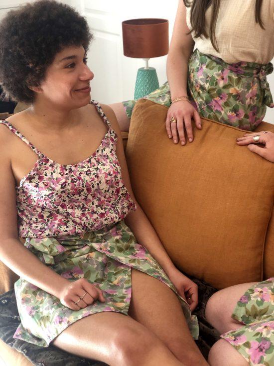 Jupe portefeuille fleurie - Fabriquée en France - La Mode de Mélissa - Mode éthique pour femmes - fait main