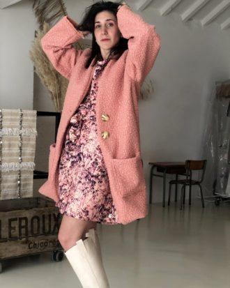 Manteau mouton rose - La Mode de Mélissa - Marque éthique de vêtements - Artisanat Yvelines