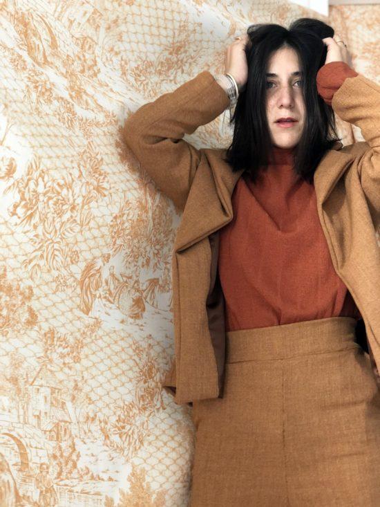 Mode éthique et éco-responsable - pantalon droit taille haute rouille - La Mode de Mélissa - couture, designer