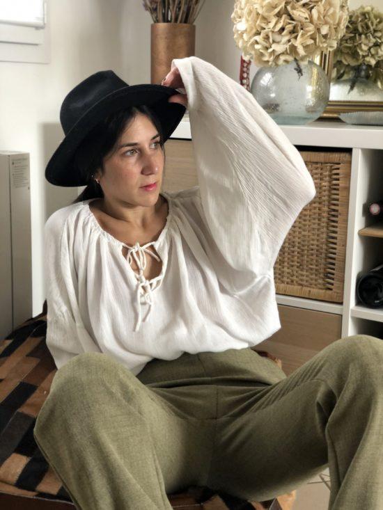Mode éthique et éco-responsable pantalon droit , taille haute vert - La Mode de Mélissa - marque éthique de vêtements