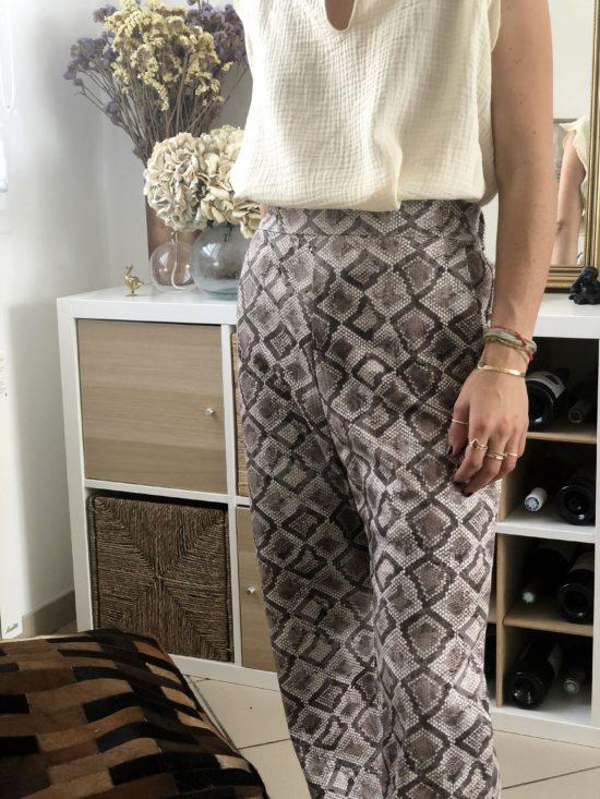 Pantalon droit éthique motif python - La Mode de Mélissa - Marque éthique et éco-responsable de vêtements féminins - Made in France