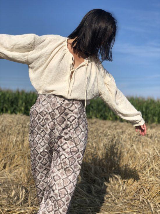 Pantalon femme - Pantalon taille haute python - pantalon éthique - La Mode de Mélissa, mode éthique et écoresponsable - made in france