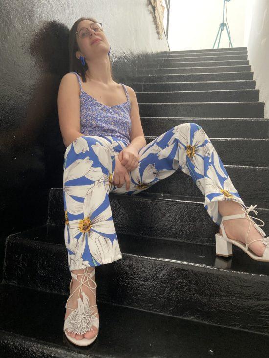 Pantalon taille haute fleurie - La Mode de Mélissa - Marque éthique de vêtements - Mode éco responsable