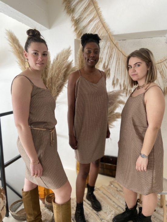 Robe à carreaux petites bretelles - La Mode de Mélissa - Mode éthique et éco responsable