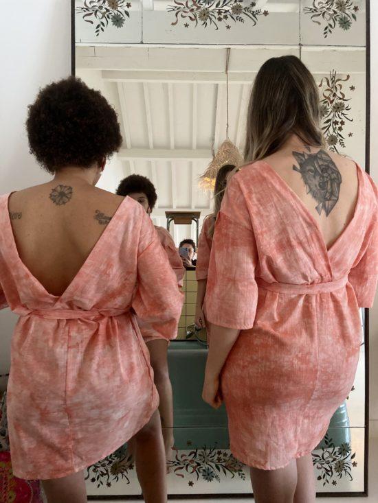 Robe decoleté dans le dos saumon - robe éthique - La Mode de Mélissa - Marque éthique - mode durable