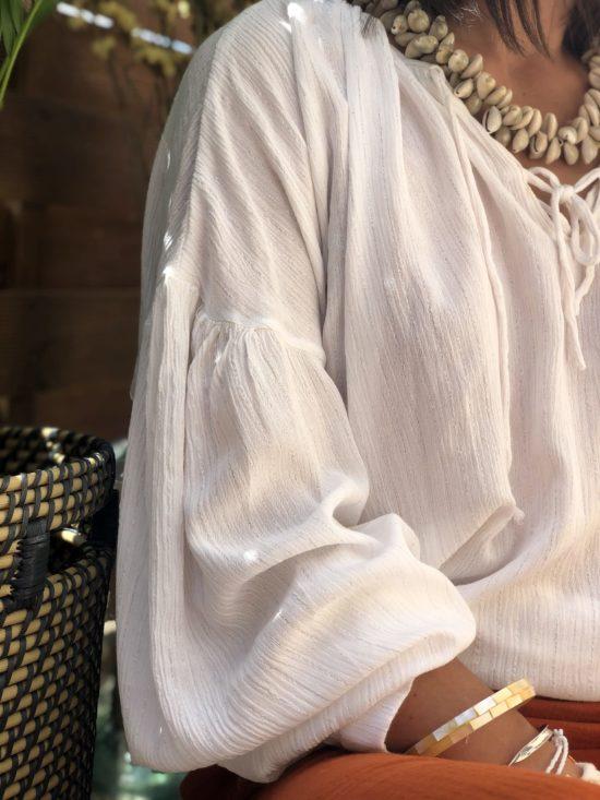 blouse bohème look femme été- fait main en France La Mode de Mélissa – marque éthique française