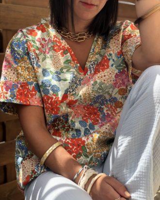 blouse fleurie fait main en France - La Mode de Mélissa - Marque éthique de vêtements feminins marque éco-responsable