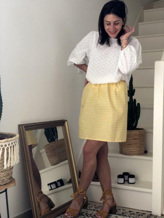 Jupe droite vichy jaune et blanc fait main La Mode de Mélissa
