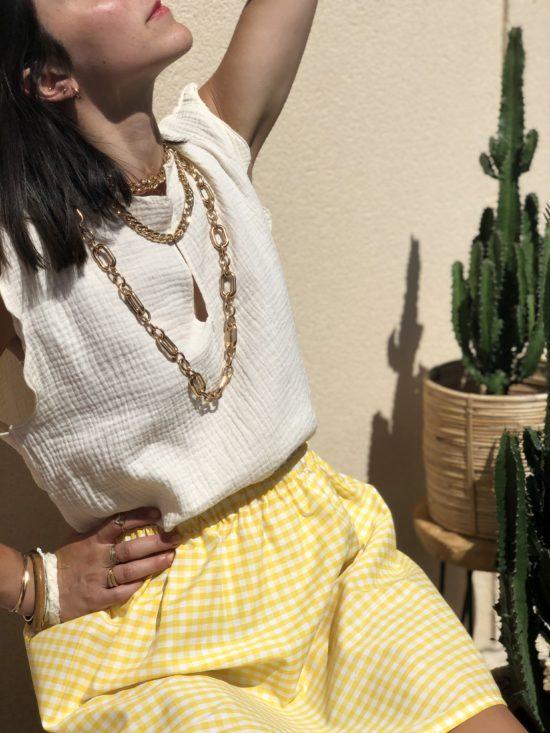jupe vichy jaune fait main en France - La Mode de Mélissa - marque éthique et française