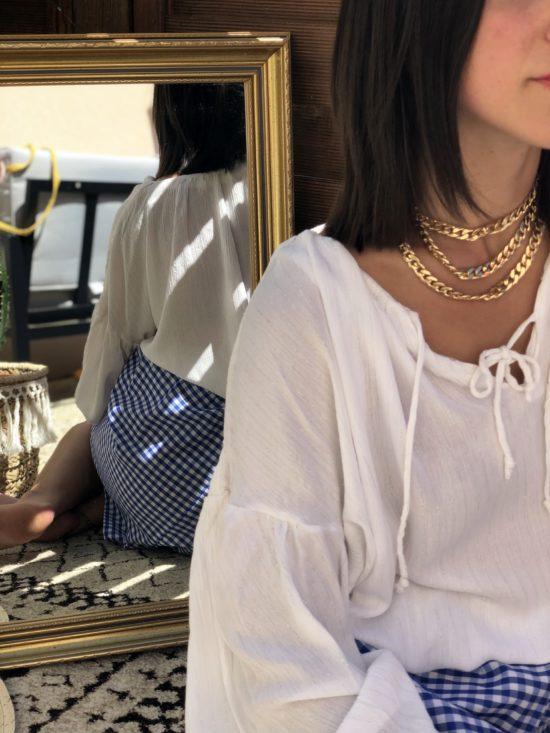 jupe droite vichy bleu et blanc fait main en France - La Mode de Mélissa - marque française et éthique- look femme été