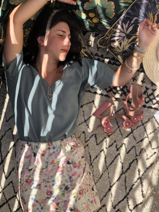 jupe fleurie fait main en France - La Mode de Mélissa - marque française éthique