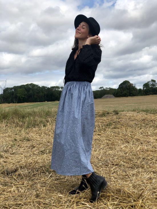 jupe longue à pois - jupe longue éthique - jupe femme - La Mode de Mélissa - Jupe bio femme