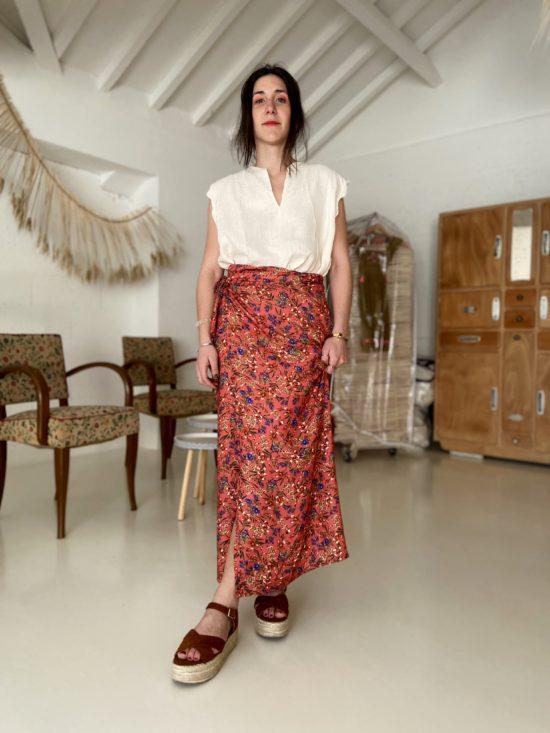 jupe longue fleurie éthique - La Mode de Mélissa - Marque éthique, mode de créateur