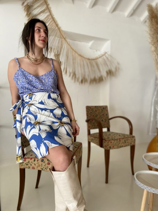 jupe portefeuille courte éthique motif fleuri - La Mode de Mélissa - Marque éthique - fait en france