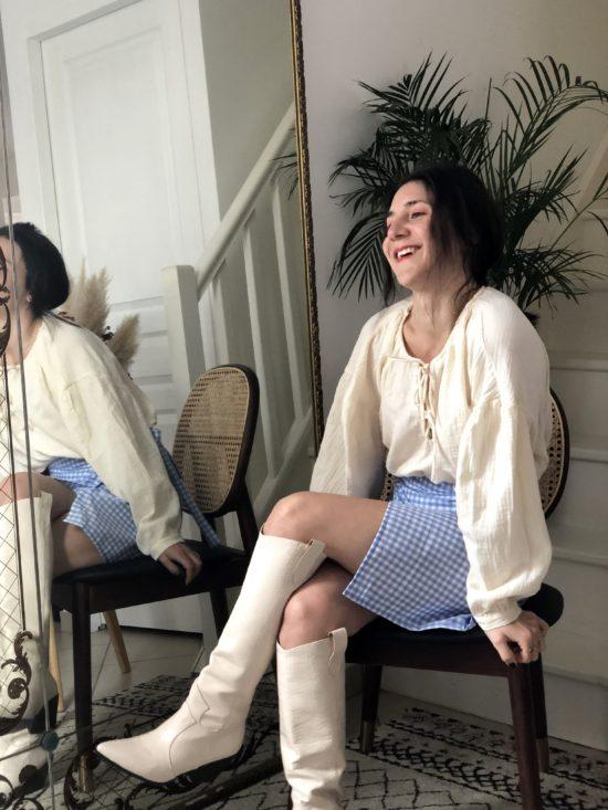 jupe portfeuille vichy bleue - La Mode de Mélissa - Mode éthique et éco-responsable