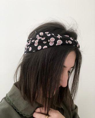 headband noir à pois violet