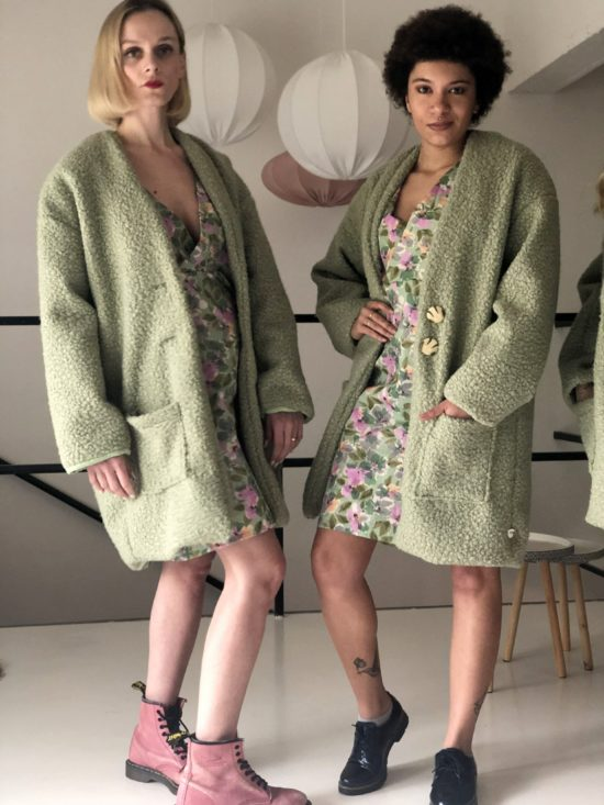 manteau vert mouton - La Mode de Mélissa - Manteau éthique fabriqué en France