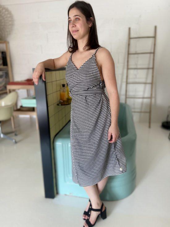 robe cache coeur pied de poule - La Mode de Mélissa - Marque éthique -