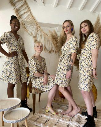 robe jaune fleurie cache coeur -robe éthique - La Mode de Mélissa