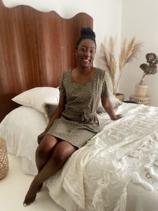 robe kaki fleurie - robe éthique - La Mode de Mélissa - Marque éthique fabriquée en france