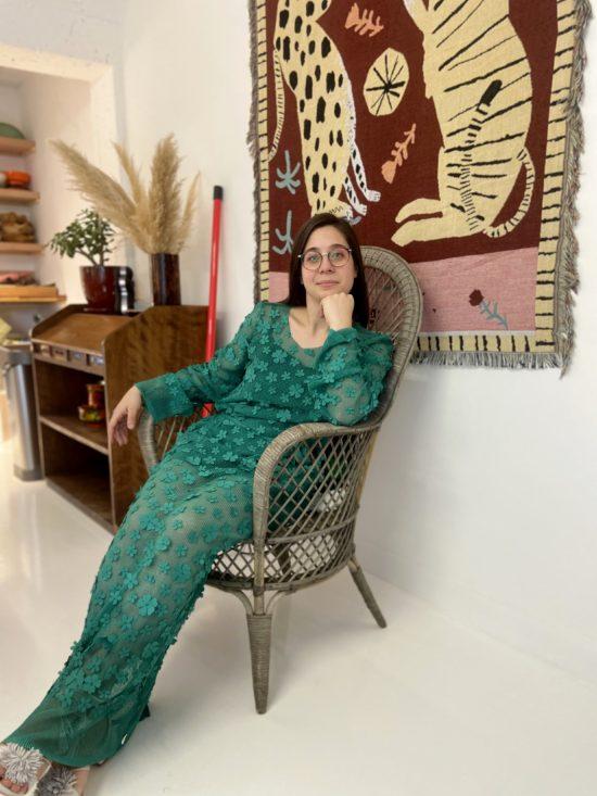 robe longue verte fleurie - robe éthique - La Mode de Mélissa - Marque éthique - couture artisan