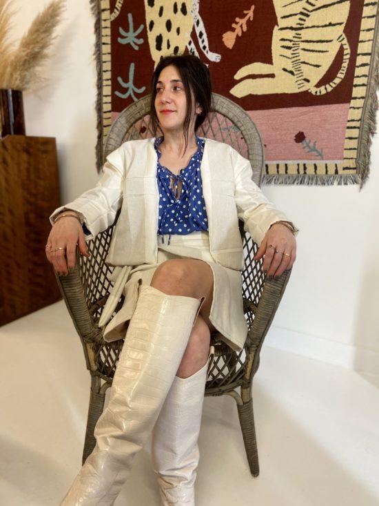 veste et jupe écru éthique - La Mode de Mélissa - cousu à la main - fabriqué en France